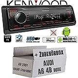 Audi A6 4b ab 2001 Bose 1-DIN - Autoradio Radio Kenwood KMM-204 - MP3 | USB | iPhone - Android - Einbauzubehör - Einbauset