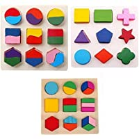 Grizzly Wooden Geometry Matching Puzzles Stacking Building Blocks Early Educational Toys (Set of 3 Boards)