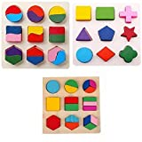 #5: Grizzly Wooden Geometry Matching Puzzles Stacking Building Blocks Early Educational Toys (Set of 3 Boards)