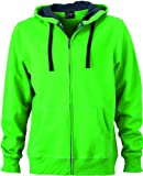 James & Nicholson Herren Sweatshirt Sweatjacke Men's Hooded Jacket grün (green/carbon) X-Large