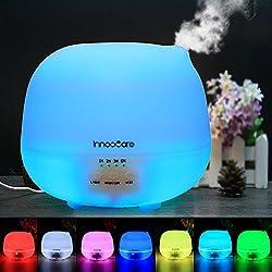 InnooCare Humidificador Ultrasónico 500ml Aromaterapia Difusor de Aceites Esenciales Difusor de Aroma 4 Modos de Funcionamiento Luz LED de 7 Colores Mejorar Aire en Invierno y Ambiente en Casa