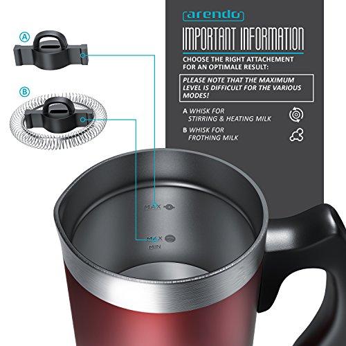 Arendo - Montalatte automatico Milk Frother acciaio inox | per latte caldo e freddo | 115ml | Spegnimento automatico | 20cm x 10cm | Colore Rosso - 5