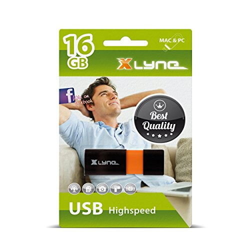 XLYNE WAVE USB Stick │16GB│USB 2.0 – Speicherstick │Push&Pull Mechanismus │Windows, Mac, Linux (Add-on-speicher-stick)