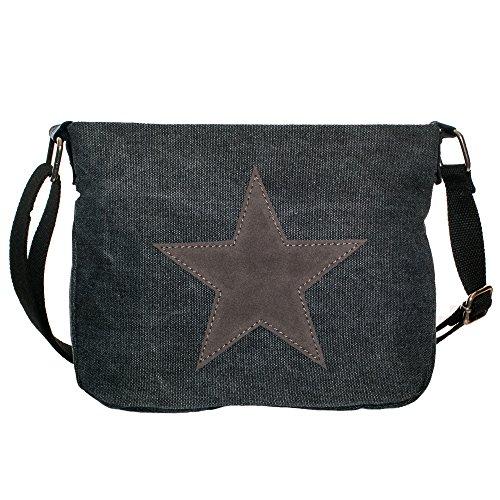 Damen Schultertasche klein Tasche Stern Canvas umhängetasche klein schwarz TUCK0487 anthrazit