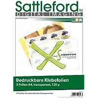 Sattleford Lot de 5 feuilles autocollantes pour Inkjet A4 Transparent
