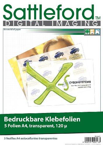 Sattleford Bedruckbare Klebefolien: 5 Klebefolien A4 transparent für Inkjet (Vinyl-Klebefolie)