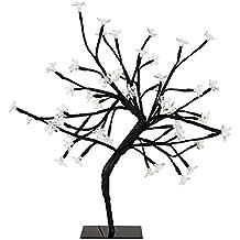 MiniSun – Decorativa lámpara de mesa de estilo bonsái negro 'Sakura en flor', con 48 luces LED blanco frío y 450mm de alto