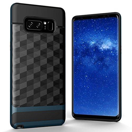 XACQuanyao para Samsung Galaxy Note 8 Figura geométrica 3D Diamond Soft TPU + Funda Protectora de contraportada de combinación de PC (Color : Navy Blue)