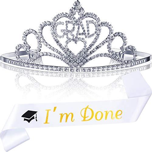 s Party Liefert Kits, Glitzerte Metall Abschluss Prinzessin Grad Krone Tiara und Graduierte Schärpe, Große Geschenke für Abschluss Party Dekorationen (Weiß I'm Done) ()
