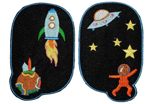 2-tlg-set-ovaler-flicken-bugelbild-rakete-ufo-astronaut-schwarz-aufnaher-applikation-bunt-hosenaufna