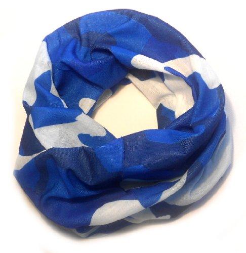 PRESKIN PRESKIN Modische Hals Tücher Bandanas Stirnbänder Loop Schals in vielen Designs, Multifunktionstuch (101 blau/weiss RUN) verwendbar als Kopftuch, Halstuch, Sturmhaube, Stirnband, Pulswärmer, Mütze,?