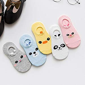 RUOHAN Kinder Socken 5 Paar Kindersocken Baumwoll-Kindersocken Stereo-Kleinohren Cartoon-Panda Baumwolle Unsichtbare Bootssocken