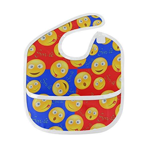 Enhusk Fröhliches Lächeln Gesichtsausdruck Emoji weich wasserdicht waschbar Fleck und Geruch beständig Baby Fütterung Dribble Sabber Spucktücher Spucktücher für Säuglingsoverall für 6-24 Monate