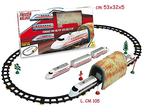 treno freccia rossa con tunnel