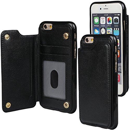 """xhorizon TM Strapazierfähiger stoßfester Brieftasche-Case aus hochwertigem PU-Leder, Rückseite-Folio Flip-Brieftasche-Case mit Kreditkartenschlitzen für iPhone 6 / iPhone6S [4.7""""] Schwarz + 9H Tempered Glass Film"""