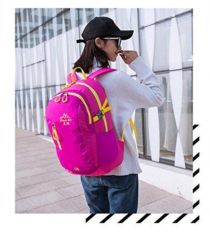30L bergsteigen rucksack einfarbig casual umhängetasche studenten tasche mit großer kapazität leicht auf reisen in der packung racksacks für männer und frauen 5 farben Pink