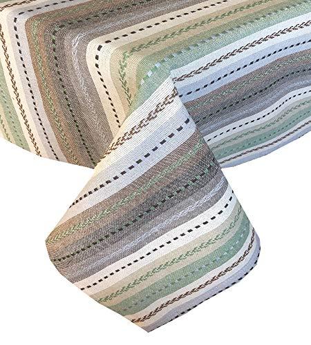 Lintex Southwestern Phoenix gestreifte Tischdecken und Servietten, Baumwolle für drinnen und draußen, Baumwolle, Natur, 60