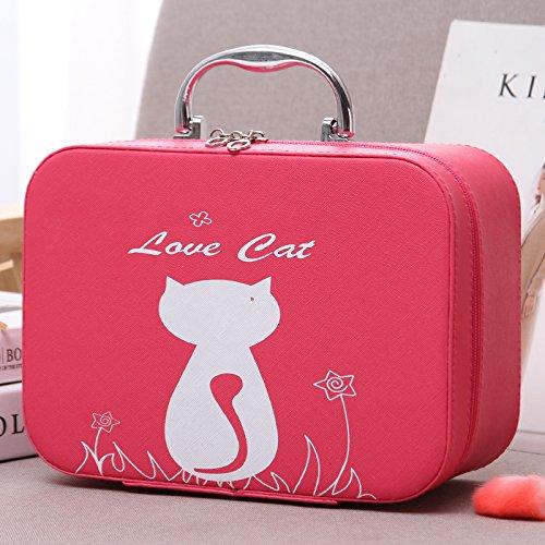 LULAN Kosmetiktasche Kosmetik, Pack Cartoon Sehr Schön in der Hand gehaltene zugeben Tank Kleine Party Tasche Kosmetik Box Lippenstift organisieren, 25 * 11 * 18 cm, Blumen Rot Grosse Katzen.