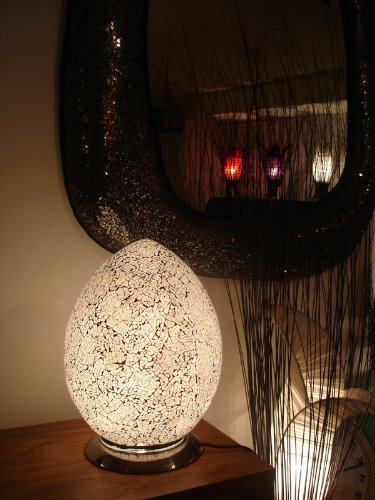 Stylish Glass Mosaic, Egg Shaped Table Lamp - Silver / White