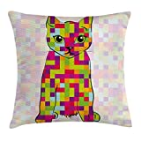 Modern Throw Pillow Cushion Cover, Cute Kitty Featured Digital Fractal Pixel Cat Computer Illustration, Decorative Square Accent Pillow Case, 18 X 18 Inches, Multicolor