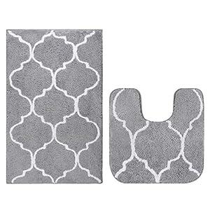 Homcomodar Rutschfeste Badematte Mikrofaser Badteppiche Absorbent Badvorleger für Badezimmer Öko-Tex 100 zertifiziert Duschvorleger Küchenbodenmatten-2Pack(Grau)