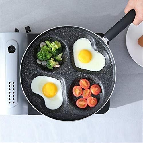 Vier-Loch-Omelett-Topf Eier Schinken Pfannkuchen Maker Braten Antihaft-Pfanne Kein Öl-Rauch Leicht Zu Reinigen (Color : Black) - Topf Maker Reis
