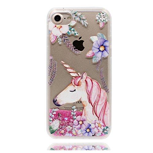 iPhone 6s Plus Custodia, Bling che scorre liquido scintillante disegno rigido TPU indietro Case Cover Copertura per iPhone 6 Plus /6S Plus 5.5 - Cartoon unicorno unicorn fiore - Graffi Resistenti # 6