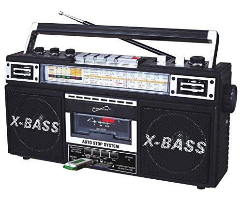 Retro Collection Boom Box (Holz) mit am/FM/sw-1-SW24-Band Radio und Kassette auf MP3Konverter N/A Schwarz