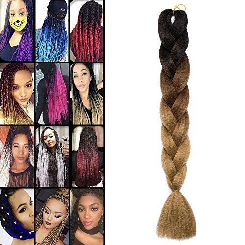 Extension treccia per capelli treccine braiding hair ombre una ciocca 100g, 3 tonalità 53# nero/marrone scuro/marrone chiaro