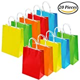 Keriber 20 Pieces Paper Party Bags Gift Bag Kraft Bag with Handle for Birthday, Tea Party, Wedding and Party Celebrations, Multicolour
