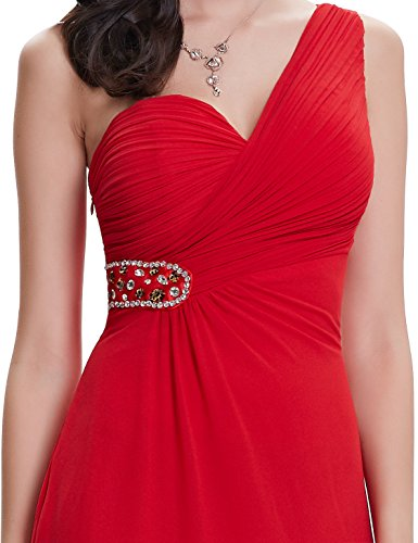 Ever Pretty One Shoulder Rot A-linie Maxi Damen Abendkleid 08161 Zinnoberrot