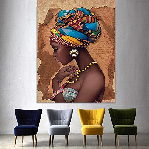 YB Leinwand Malerei Modulare Poster Dekoration Afrikanische Schwarze Frau Bilder Wandkunstwerk Hd Gedruckt Kein Framerdic Stil Für Wohnzimmer, Kein Framerdic-LXR2725,60x80cm Kein Rahmen -