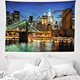 ABAKUHAUS Città Tappeto da Parete e Copriletto, New York a Ponte di Notte, Lavabile e Senza Colori sbiaditi, 150 x 110 cm, Multicolore