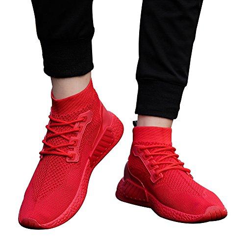 Hohe Hilfe Laufschuhe Herren,ABSOAR Männer Weben Sportschuhe Socken Schuhe Weiche Sohle Turnschuhe 2018 Sommer Sneaker Mode Rund Zeh Flach Freizeitschuhe (EU:42/CN:43, Rot)