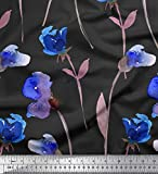 Soimoi Grau Seide Stoff Blätter & Sweetpea Blume gedruckt