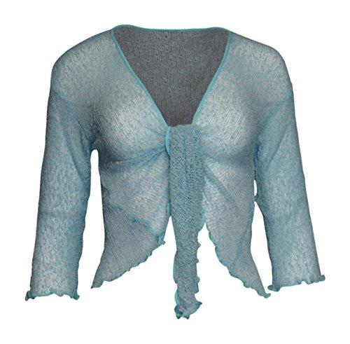 Mesdames Femme de Dames Womens Ladies Bali Plain Colored Fish Net Super Stretch Tie-Lace Cardigan Bolero Shrug Cardigan avant ouvert (une taille) GLACE BLEUE