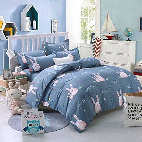 KFZ Bett Set (Zwei Full Queen King Size) [4 Stück: Bettbezug, Bettlaken, 2 Kissenbezüge] keine Tröster KSN Cloud Walking Hase klein Foot Print Krone Fruit Cartoon Design für Jugendliche, Kinder, Erwachsene, Microfaser, Small Rabbit,blue, Queen 78