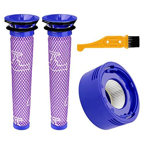 POWER-XWT 2pc V7 V8 Ersetzt Filter und Vorfilter für Dyson V8 V7 Pre-Filter Vormotorfilter (mit Reinigungsbürste)
