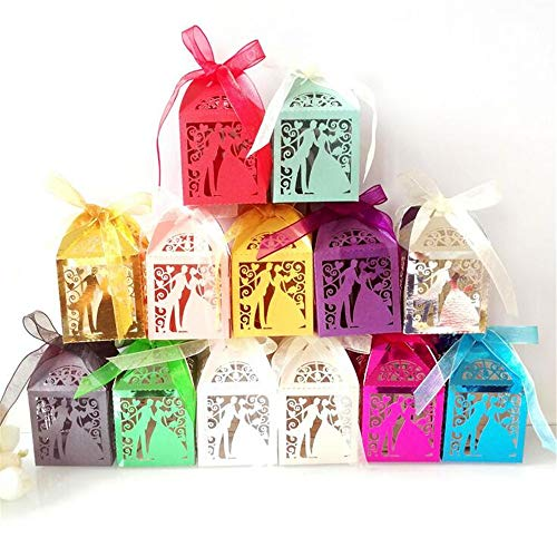 ARAYACY Hochzeit Schmetterling Candy Box/Candy Box/Bräutigam Braut Schokolade Box/Love Blue Tray (100PCS)
