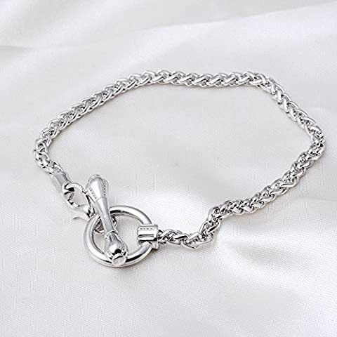 RUBYCA 20Pcs Elegant Toggle Clasp Link Chain Silver Color Charm Rolo Bracelet 20cm for Jewelry Making