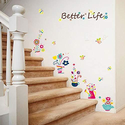 Nette Blume Topf Schmetterling Biene Cartoon Wandaufkleber Kinderzimmer Baby Schlafzimmer Schrank Kleiderschrank Diy Pvc Dekorative Aufkleber (Blumentopf Net)