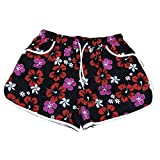 Frauen Yoga Floral Gedruckt Hot Pants Pocket Shorts Strand Kurze Hosen mit Kordelzug Workout Shorts
