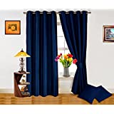 Dekor World Plain Navy Blue Curtain And Cushion Combo.-Set Of 4 Pcs