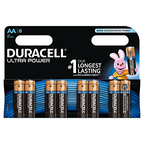 Duracell MX1500 Ultra Power Alkaline Batterie mit Powercheck AA (MX1500/LR6, 8-er Pack) kupfer/schwarz