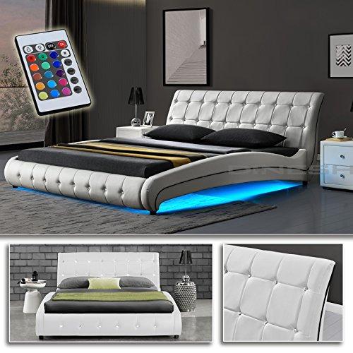 DI-LIFESTYLE Goar Weiß Doppelbett Polsterbett LED Unterboden Beleuchtung Bett Lattenrost