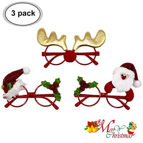 BUOCEANS Weihnachten Brille, Weihnachts Party Gläser Lustige Weihnachts Brillen Rahmen Stützen Weihnachts Schmuck Geschenke für Kinder und Erwachsene, ()