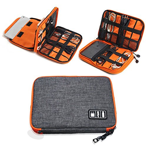 Preisvergleich Produktbild YM Elektronik Tasche, Universal Elektronischer Aufbewahrungstasche Tragbar Organiser Reise Groß mit Doppelschichte für Zubehör-Kabel / USB / Speicherkarte / SD / iPad / Ladegeräte / Tablet / Handy / Powerbank, Grau
