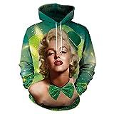 Sweat à capuche Impression 3D Hiver chaleureuse vacances Hip-hop punk polyester street fashion Dream Marilyn Monroe Vert Pulls couple couture à capuchon chandail hommes femmes personnalité design uniq
