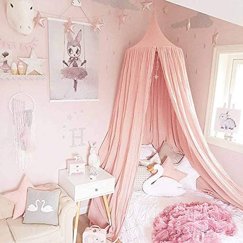 Children Bed Canopy Pink Round D...