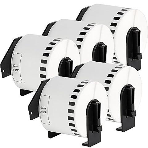 5er Set - Endlos-Etikett kompatibel zu Brothers DK-22205 | Thermopapier mit Kunststoffhalter / 62mm x 30,48 m| einsetzbar in Brother P-Touch QL 500 Series / 500 / 500A / 500BS / 500BW / 550 / 560 Series / 560 / 560VP / 560YX / 570 / 580 Series / 580 / 580N / 650TD / 700 / 710W / 720NW / 1000 Series / 1050 / 1050N / 1060N